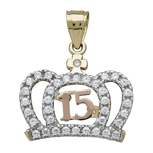 Tesoro™ Cubic Zirconia 14K Two-Tone Gold Quinceanera Crown Pendant