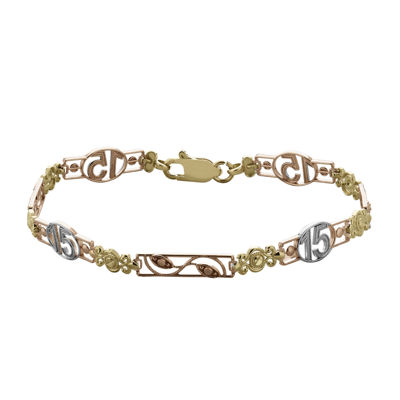 Tesoro 14k Tri Color Gold Quinceanera Link Bracelet