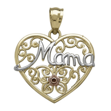 jcpenney.com | Tesoro™ 14K Tri-Color Gold Mama Filigree Heart Pendant