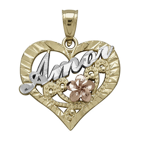 "Tesoro™ 14K Tri-Color Gold ""Amor"" Heart Pendant"