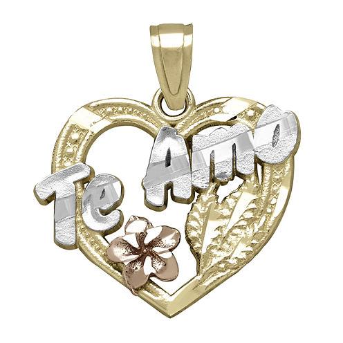 "Tesoro™ 14K Tri-Color ""Te Amo"" Heart with Flower Pendant"