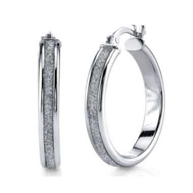 jcpenney.com | Sterling Silver Glitter 25mm Hoop Earrings