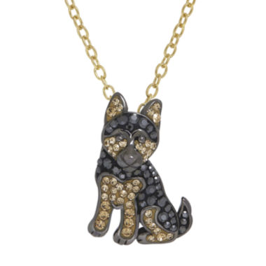 jcpenney.com | Animal Planet™ 14K Yellow Gold Over Sterling Silver Crystal German Shepherd Pendant Necklace