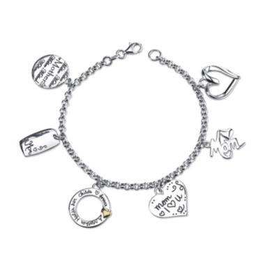 "jcpenney.com | Inspired Moments™ Sterling Silver ""Mom"" Charm Bracelet"