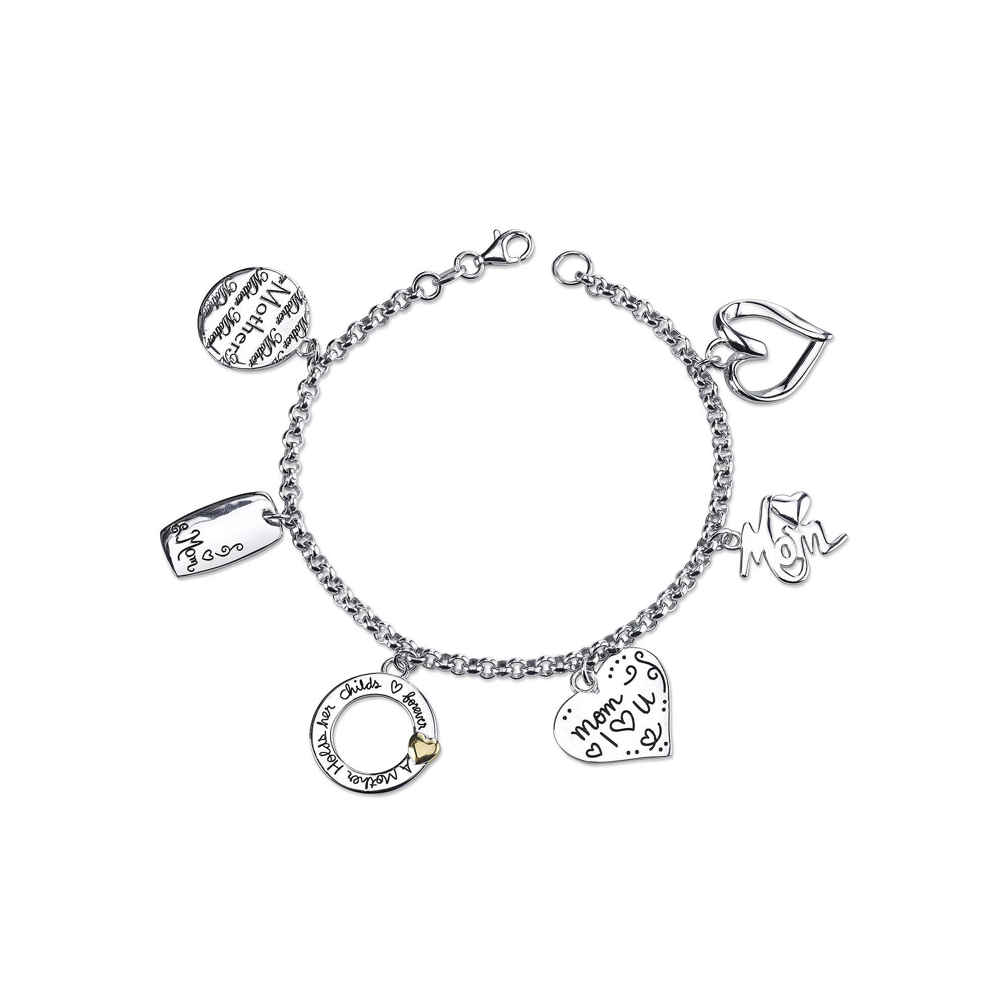 "Inspired Moments™ Sterling Silver ""Mom"" Charm Bracelet"