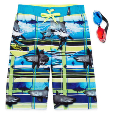 jcpenney.com | Zero Xposur® Shark-Wave Swim Trunks and Goggles Set - Boys 8-20