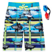 Zero Xposur® Shark-Wave Swim Trunks and Goggles Set - Boys 8-20