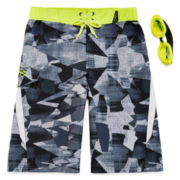 Zero Xposur® Camo Swim Trunks and Goggles Set -Boys 8-20