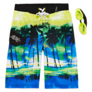 Zero Xposur® Endless Summer Swim Trunks and Goggles Set - Boys 8-20