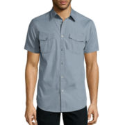 JF J. Ferrar® Short-Sleeve Triple Needle Woven Button-Front Shirt