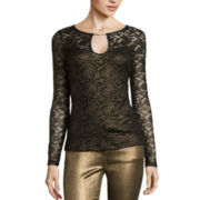 Bisou Bisou® Long-Sleeve Keyhole Lace Top