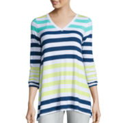 Liz Claiborne® Long-Sleeve V-Neck Striped Tunic