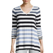 Liz Claiborne® Long-Sleeve V-Neck Striped Tunic - Petite