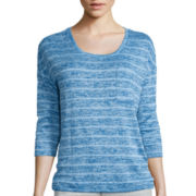 Liz Claiborne® 3/4-Sleeve Striped Knit Top