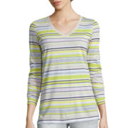 Liz Claiborne® 3/4-Sleeve V-Neck Striped Knit T-Shirt - Tall