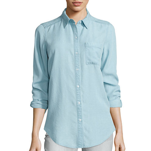 Liz Claiborne® Long-Sleeve Light Denim Tunic