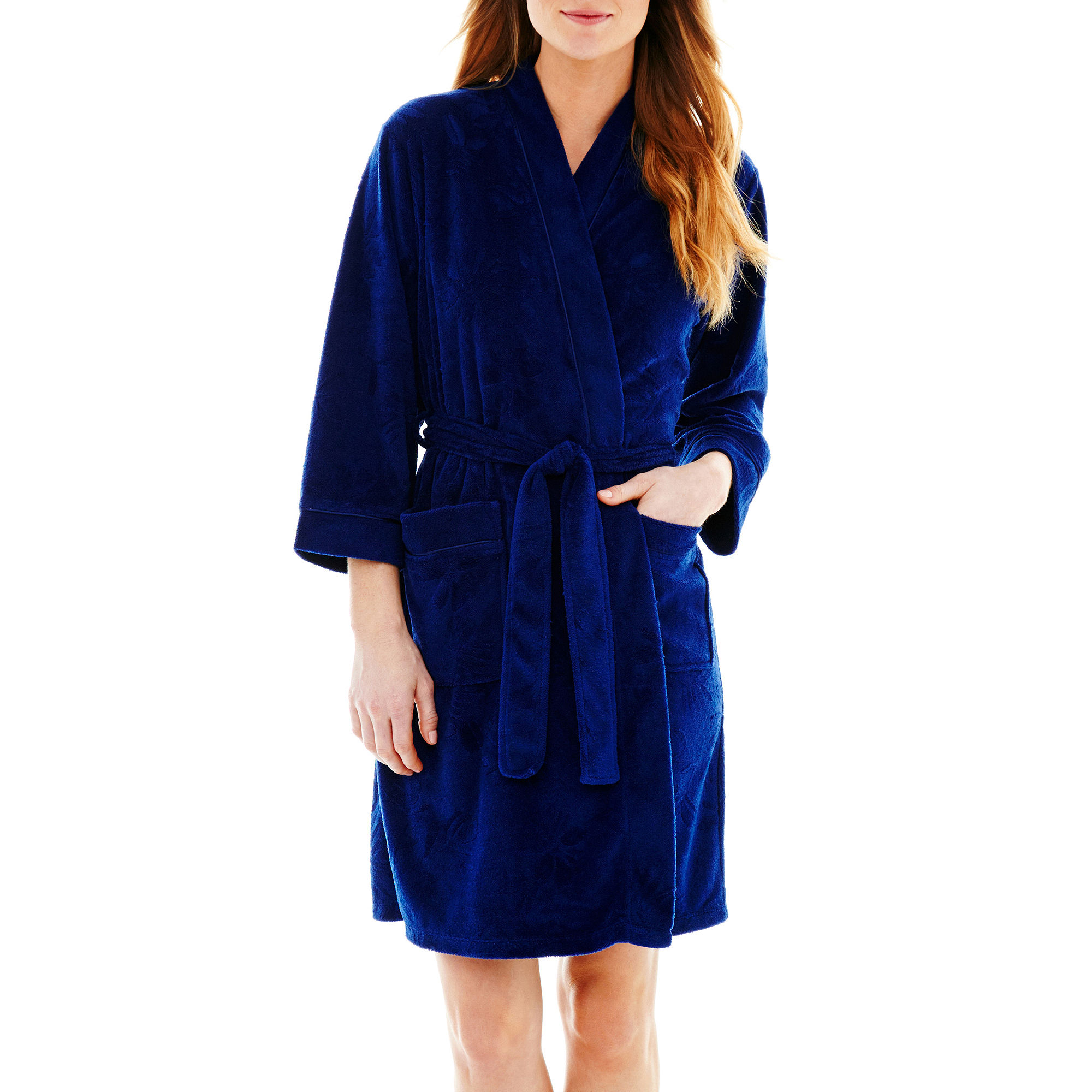 Earth Angels 3/4-Sleeve Short Wrap Robe plus size,  plus size fashion plus size appare