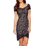 Bisou Bisou® Cap-Sleeve High-Low Lace Sheath Dress