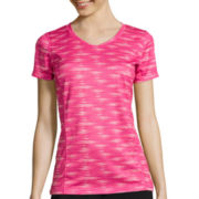 Made For Life™ Short-Sleeve Print V-Neck Mesh T-Shirt - Petite