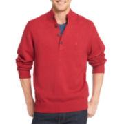 IZOD® Long-Sleeve Button Mockneck Sweater