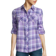 Arizona Long-Sleeve Plaid Shirt  - Juniors