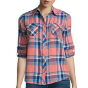 Arizona Long-Sleeve Plaid Shirt  - Juniors
