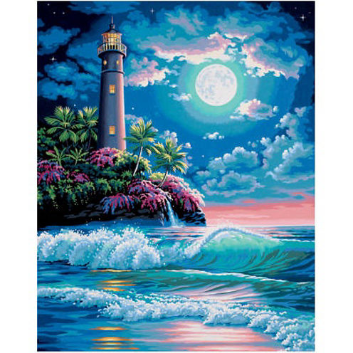 """Paint By Number Kit 16""""X20""""- Lighthouse In The Moonlight"""