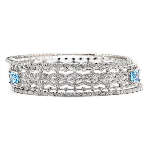 Blue Topaz & Diamond-Accent 3-pc. Bangle Bracelet Set