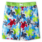 Baby Buns Turtle Board Shorts - Boys 12m-6y