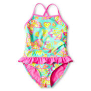 Breaking Waves Butterfly One-Piece Swimsuit - Girls 12m-6y