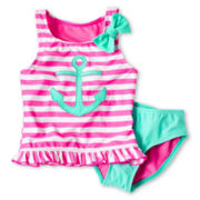 Breaking Waves Sailor 2-pc. Swimsuit - Girls 12m-6y