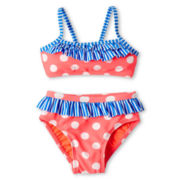 Breaking Waves 2-pc. Dots and Stripes Swimsuit - Girls 12m-6y