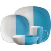 16-pc. Tri-Dip Color Block Dinnerware Set