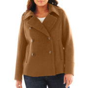 jcp™ Wool-Blend Pea Coat - Plus