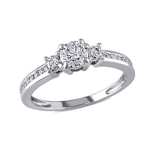 3/4 CT. T.W. Diamond 14K White Gold 3-Stone Ring
