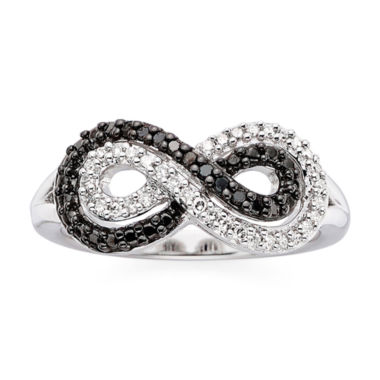 jcpenney.com | 1/5 CT. T.W. White & Color-Enhanced Black Diamond Infinity Ring