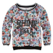 Knit Works Long-Sleeve Print Mesh Raglan Pullover - Girls 7-16