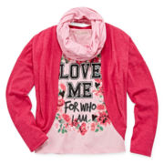 Self Esteem® Long-Sleeve Shrug, Screen Tee and Scarf - Girls 7-16
