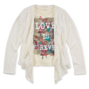 Self Esteem® Long-Sleeve Cardigan and Screen Tee - Girls 7-16