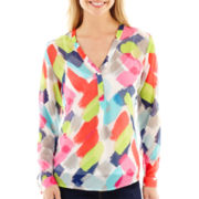 Liz Claiborne® Long-Sleeve Print Henley Blouse with Cami - Tall