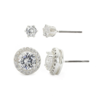 jcpenney.com | Sparkle Allure Halo Stud And 4Mm Stud Earrings