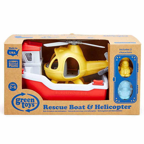 Green Toys Rescue Boat W Helicopter  Accessory