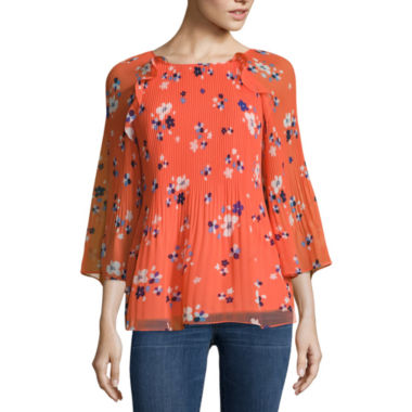 jcpenney.com | a.n.a Long Sleeve Crew Neck Chiffon Blouse