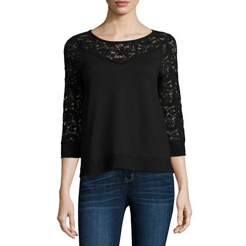 a.n.a Long Sleeve Sweatshirt-Petites