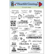 Hot Off The Press 'Heartfelt Greetings' Acrylic Stamps Sheet