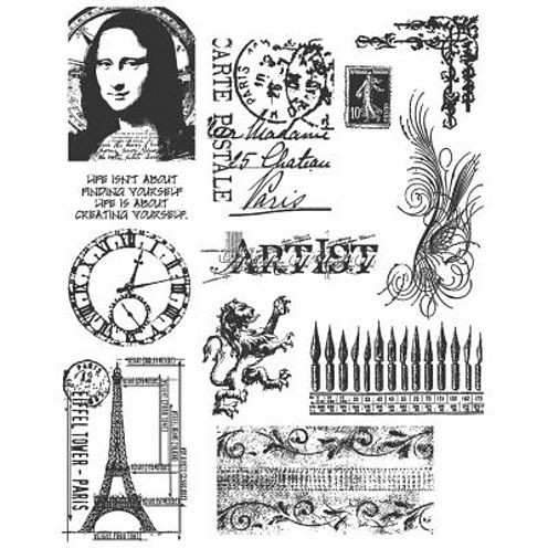 Large Cling Rubber Stamp Set—Mini Classics