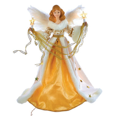 "jcpenney.com | Kurt Adler 10-Light 16"" Cream and Gold Angel Treetop"