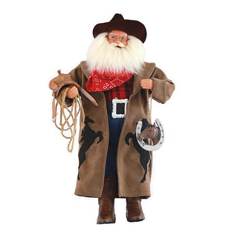 """18"""" Cowboy With Horseshoe Santa"""