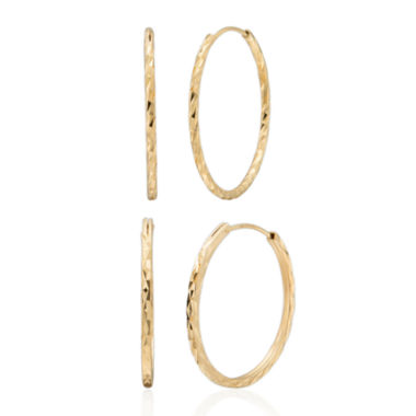 jcpenney.com | 14K Gold Over Silver Hoop Earring Sets