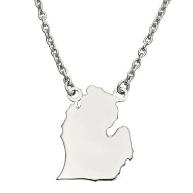 jcpenney.com | Personalized Sterling Silver Michigan Pendant Necklace